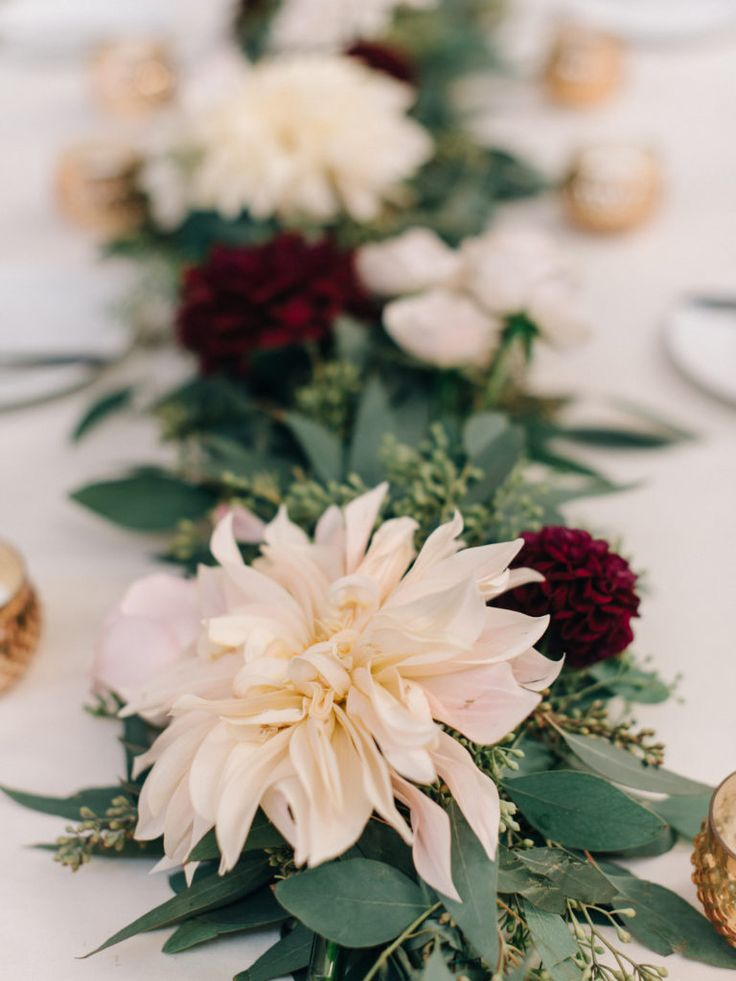 Seeded Eucalyptus Garland with fall flowers, cream & burgundy dahlias | 19 East Fall Wedding