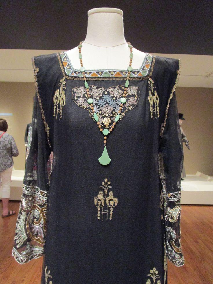 2016-08-26 Taft Museum Downton Abbey Exhibit - Virginia Wolf's black silk net embroidered dress (extant garment) (Season 4)