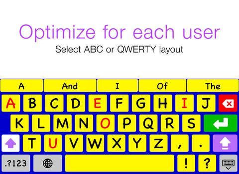 Keedogo Plus - Keyboard for education By AssistiveWare ($3.79 - coming up at 2.99 in iTunes on 9/29/14) Keedogo Plus is an iOS keyboard with WORD PREDICTION designed for children and young students. The keyboard provides a simplified layout with just the essential keys so early writers can focus on developing their skills rather than being distracted by symbols and functions they don't yet need.