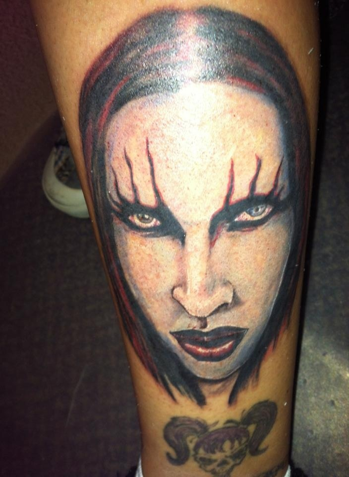 40 best marilyn manson fan tattoos images on pinterest for Marc anthony neck tattoo