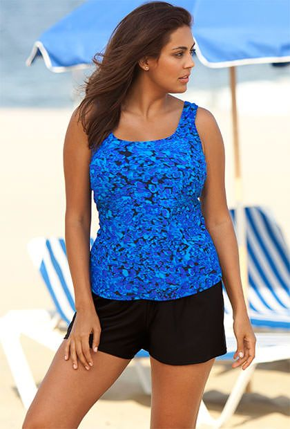 Beach Belle Periwinkle Feathery Animal Plus Size Shortini