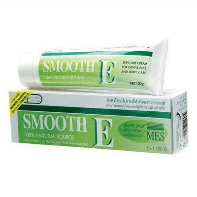 Smooth E Cream Anti Aging Wrinkles Vitamin E Aloe Vera Scars Acne Spot Mark 100g. by Smooth E. $22.00. Highly recommended by dermatologists. Radical Protector. Scar Reducer. Best selling scar and fine line reducing cream in drug stores personal health care chains, supermarkets in Thailand. Increase protein growth(Keratinization) in the skin. SMOOTH E SCAR REDUCER ALOE VERA VITAMIN E CREAM Size : 100 g No. 1 Best selling scar and fine line reducing cream in drug stor...