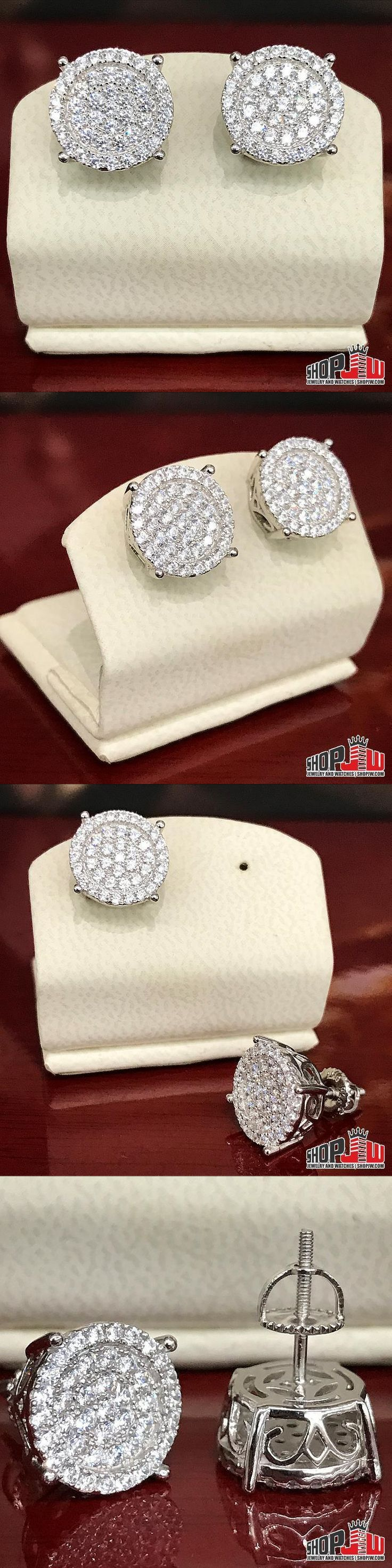 Earrings Studs 14085: Mens 14K White Gold Finish .925 Silver Screw Back Earrings Round Iced Out Style -> BUY IT NOW ONLY: $50 on eBay!