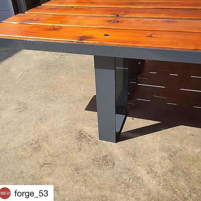 Sharing sunnier (and warmer days) with a collaboration I did with @forge_53. Such a fun project with some lengthy boards. Love the charcoal finish they choose.