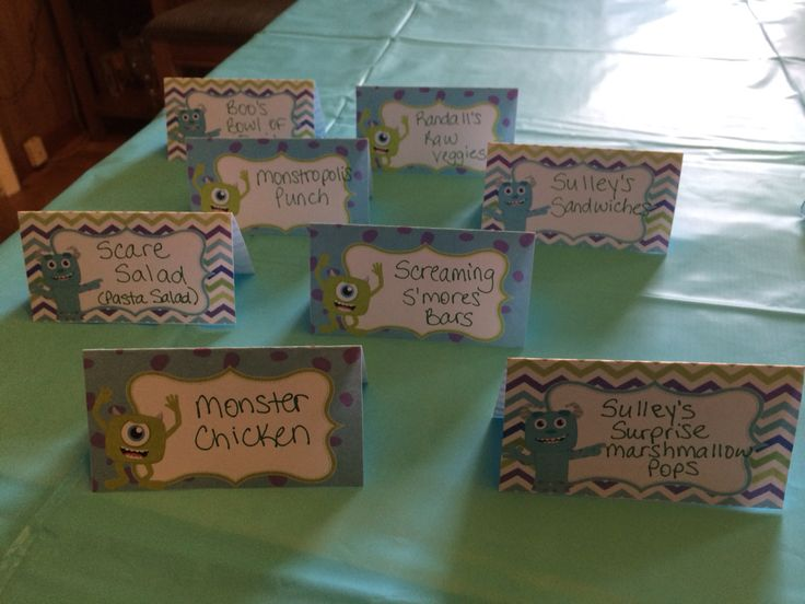 Monster's Inc baby shower. Food labels