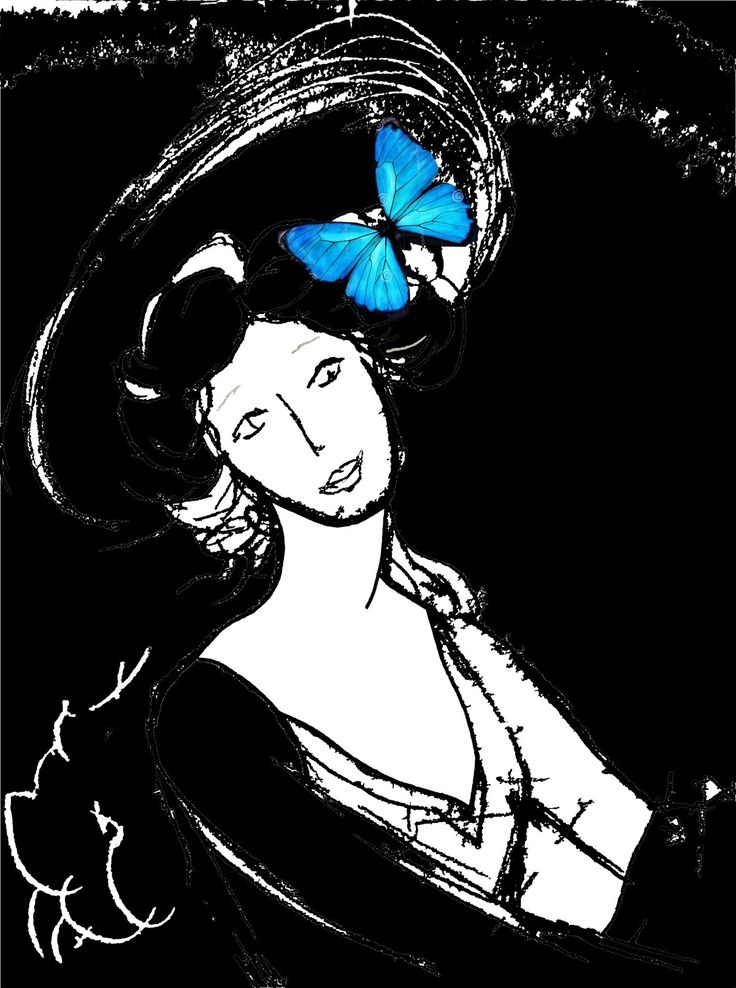 Illustration woman with a butterfly