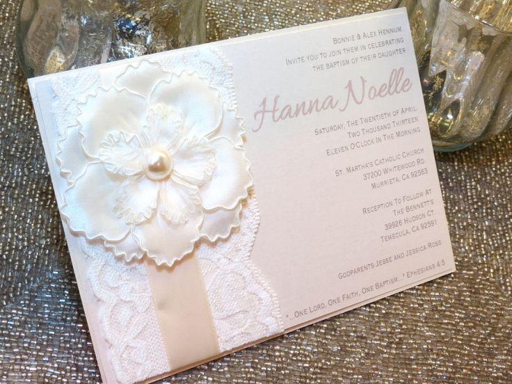 HANNA++Lace+Baptism/Christening+Invitation++by+peachykeenevents,+$4.75