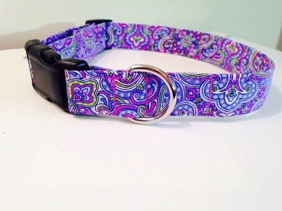 Purple Paisley Dog collar Purple dog collar Large by MuttStuffnc
