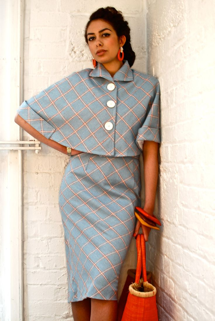 cropped cape and pencil skirt