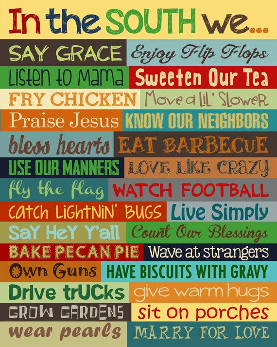 Southern Sayings. Hey Y'all. Southern Wall by LittleLifeDesigns