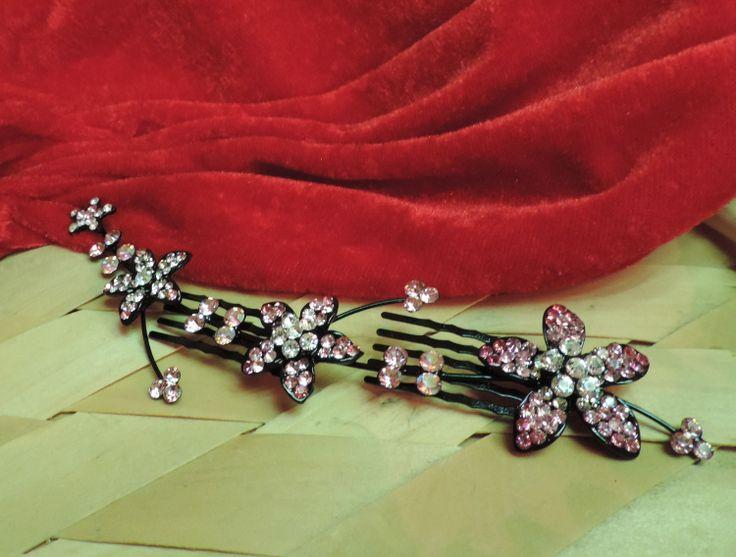 Pink Silver Hair Embellishment Clip
