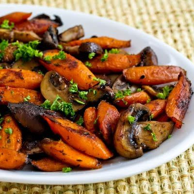 If you like cooked carrots at all, these Roasted Carrots and Mushrooms with Thyme are just fantastic for a fall or winter side dish. [from KalynsKitchen.com] #Paleo #Vegan