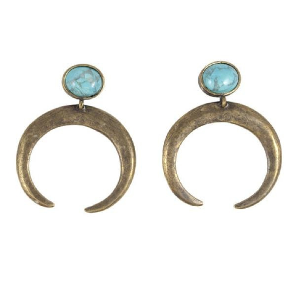 The Crescent Earring / Antique Brass With Howlite Blue Turquoise: Howlit Blue, Bling, Inspiration Jewelry, Blue Turquoise, 2B Earrings, Antiques Brass, Crescents Earrings, 15 Styles, Jewelry Boxes
