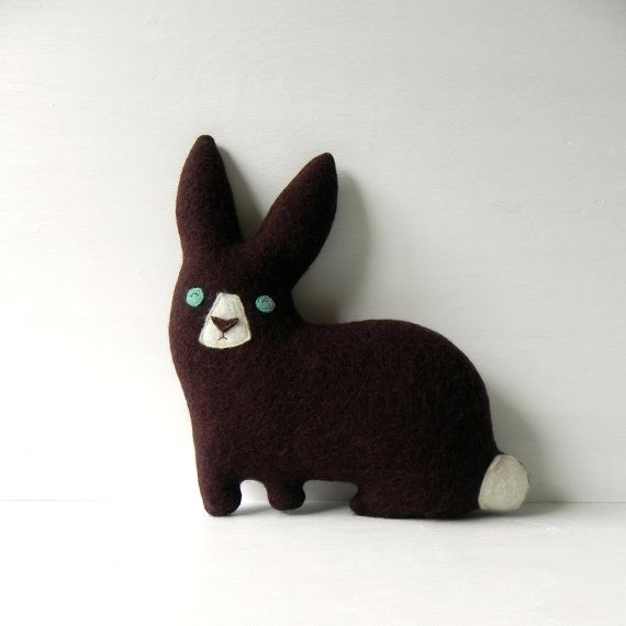 the Hare plush wool pillow by ThreeBadSeeds on Etsy, $60.00