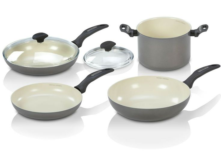The Delimano Prima+ 6 Piece Top Set.   (Contains: 1 pot, 1 wok, 1 medium frying pan, 1 large frying pan, 2 lids)