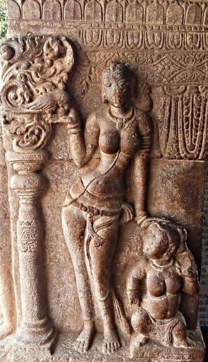 """Lady with a Parrot. "" Virupaksha Temple. Pattadakal. Chalukya Dynasty. 8th Century CE. Karnataka, India."