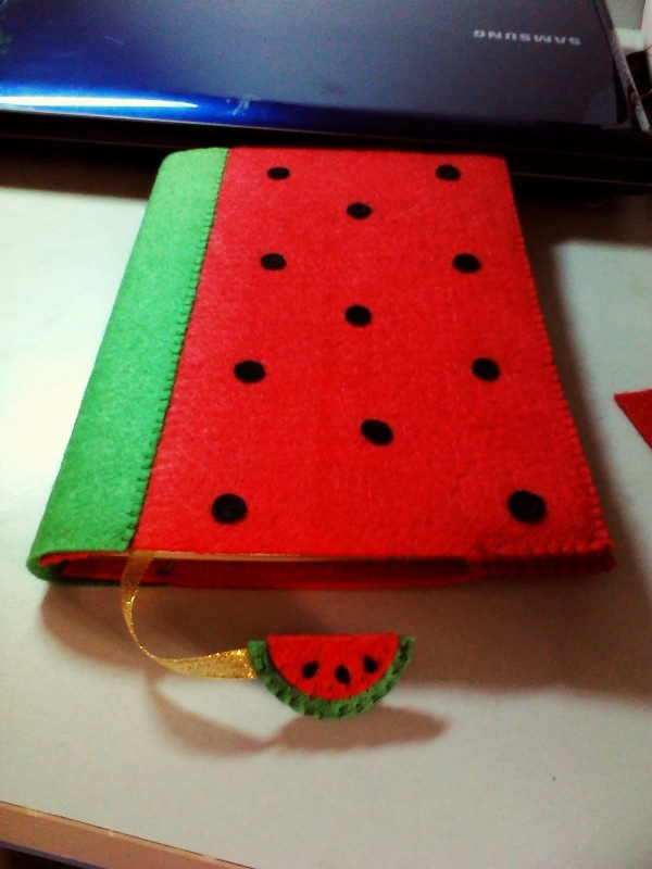 a watermelon notebook with bookmark - too cute!