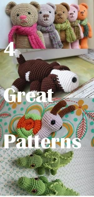 4 Great Amigurumi PATTERNS - Downloadable Crochet Tutorials: Amigurumi Snail for free, Crocodile, Puppy, Teddy Bear by crazy sheep