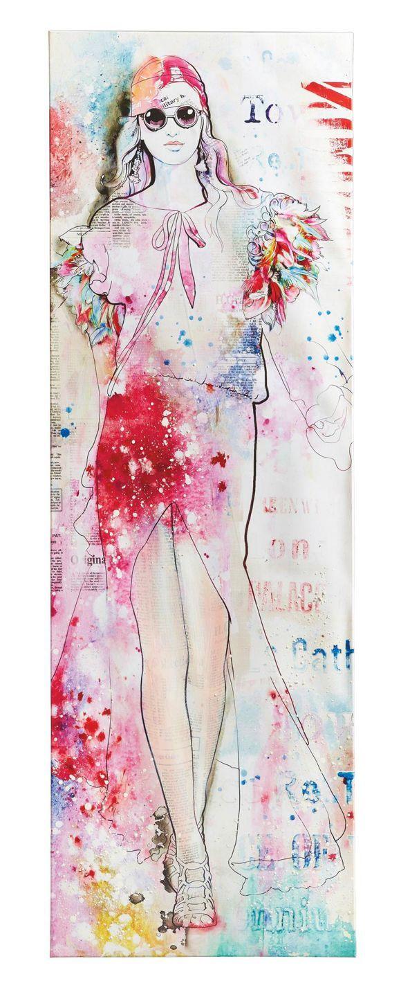 Dieses Wandbild(B x H: ca. 50 x 150 cm) inspiriert Sie, neueste Modetrends selbst auszuprobieren! Die selbstbewusste Schönheit mit Sonnenbrille schreitet auf dem Laufsteg dahin, während Ihr Kleid im angesagten Hippie-Style im Wind weht. Das Model wirkt auf der bunten Leinwand besonders ansprechend und sorgt im Flur oder Schlafzimmer für gute Laune und Spaß an Fashion. Holen Sie sich die Modenschauen von New York, Mailand und Paris nach Hause!