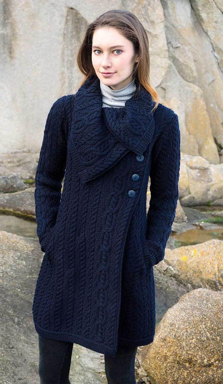 Women's Chunky Collar Aran Coat - Navy – Aran Sweaters Direct