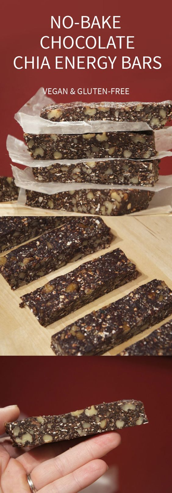 No-Bake Chocolate Chia Bars with Walnuts - Vegan and Gluten-Free: