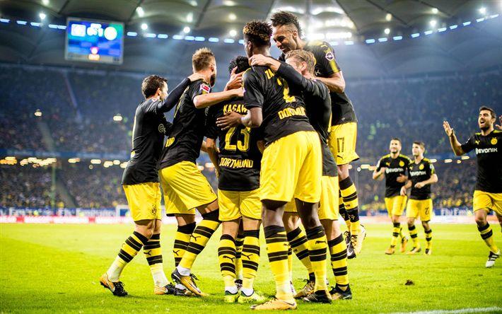 Hämta bilder Pierre-Emerick Aubameyang, Shinji Kagawa, Lukasz Piszczek, Dan-Axel Zagadou, Andrey Yarmolenko, Borussia Dortmund, Bundesliga, BVB, fotboll
