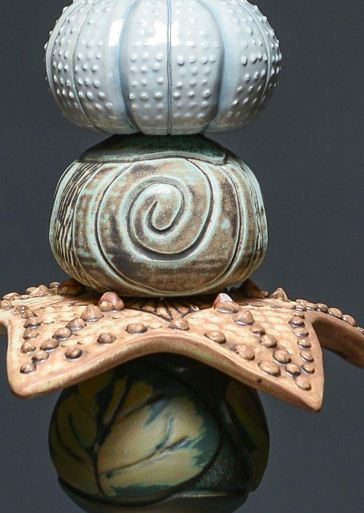 Close-up on McCoy ceramic garden totem