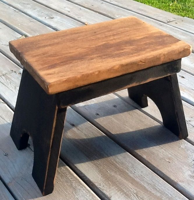 This stool is designed to look antique and it achieves that look easily by the use of 1886 cedar floor boards for the top of stool The remainder is made from 1 thick rough pine that is painted distressed and finished in an antiquing Danish oil It is sturdy so can be used as a step stool Great beside a chair