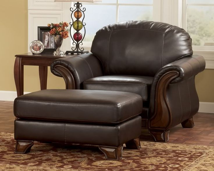 Old World Wood Trim & Faux Leather Sofa Couch Set