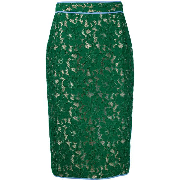 MSGM lace pencil skirt ($458) ❤ liked on Polyvore featuring skirts, green, lacy skirt, lace pencil skirt, knee length pencil skirt, msgm skirt and knee length lace skirt