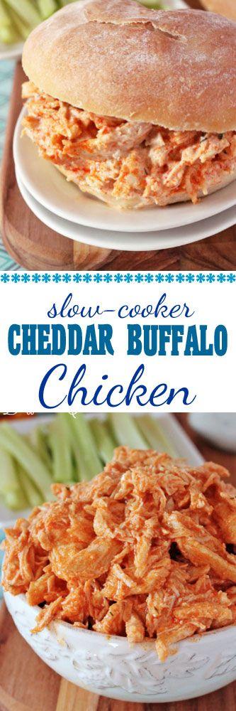 Slow Cooker Cheddar Buffalo Chicken Sandwiches with Ranch Dressing #buffalochicken #slowcookerchicken #crockpot