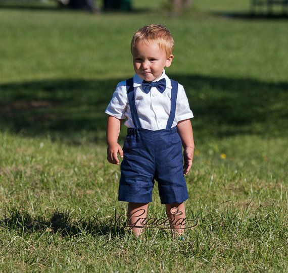 Ring bearer outfit Boy suspenders suit Baby boy linen by Graccia