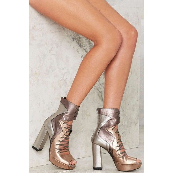 Nasty Gal Metal Me Halfway Leather Heels ($165) via Polyvore featuring shoes, pumps, boots, chunky pumps, chunky platform shoes, high heel shoes, high heel pumps and lace up shoes