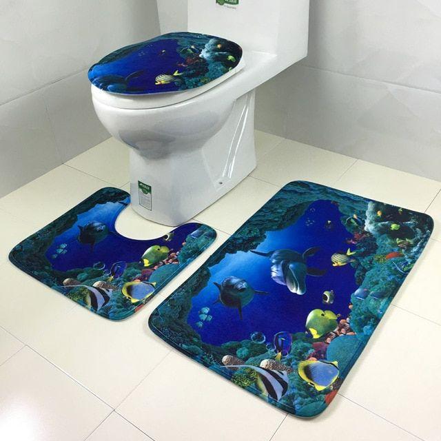 3PCS Set Non-Slip Flannel Bathroom Pedestal Rug Bath Mat Lid Toilet Cover Decor