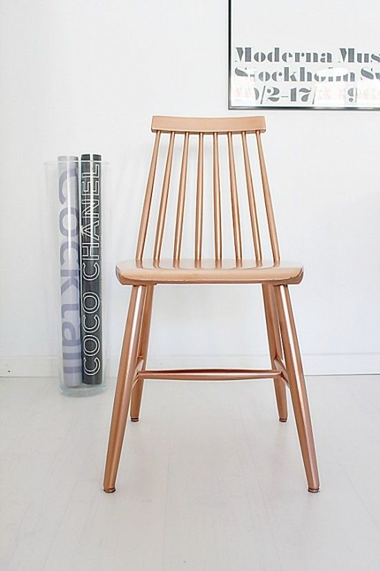 DIY repaint old wooden chairs with copper spray paint