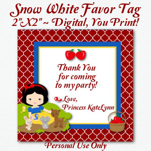 Digital Snow White And Woodland Animals Thank You Tag