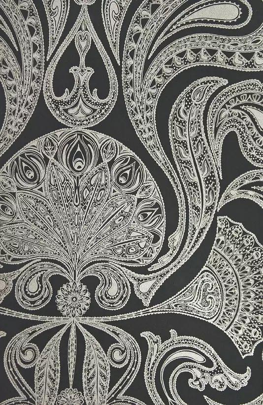 Malabar Wallpaper Paisley Wallpaper Black Silver