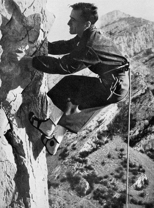 Emilio Comici free climbing in Val Rosandra circa 1930
