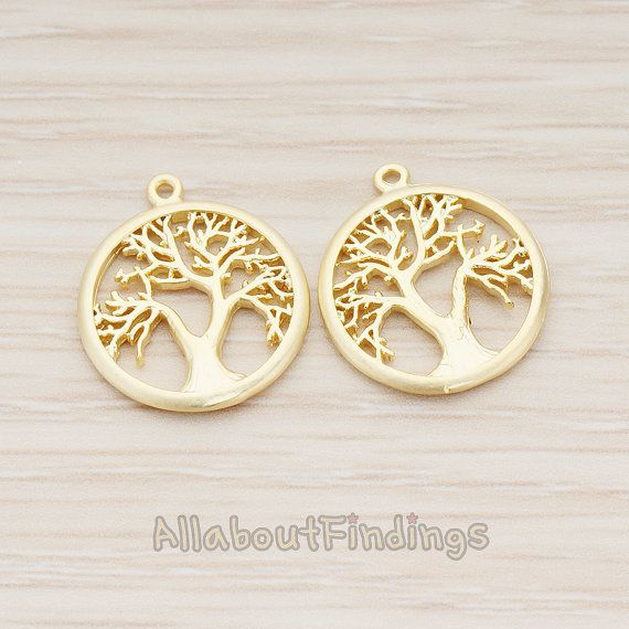 [GROOT]  PDT1113-MG // Matte Gold Plated Round Tree of by AllaboutFindings