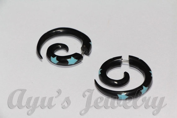 Small Black Horn Spiral Fake Gauge Earrings with by ayujewelry, $8.50
