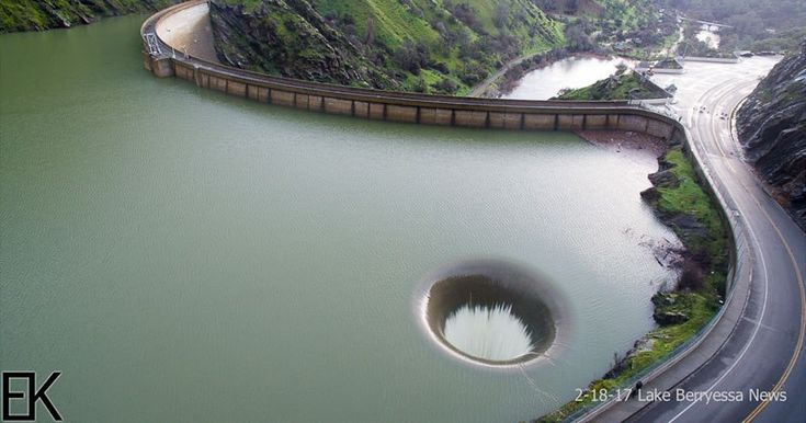 Drone Captures Lake Berryessa Glory Hole Spillway Overflowing for First Time in aDecade