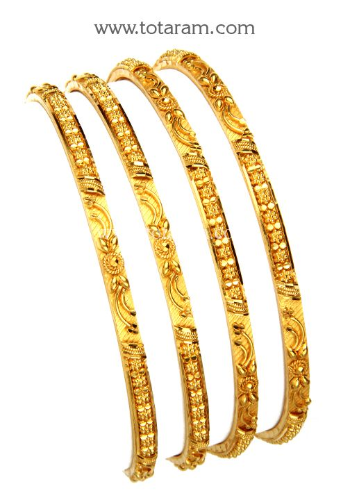 22K Fine Gold Bangles - Set of 4 (2 Pair)