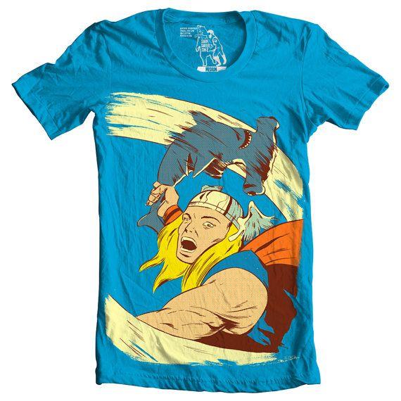 Mens Tee Thor Shark Funny Graphic Tees Man Hammer by sharpshirter