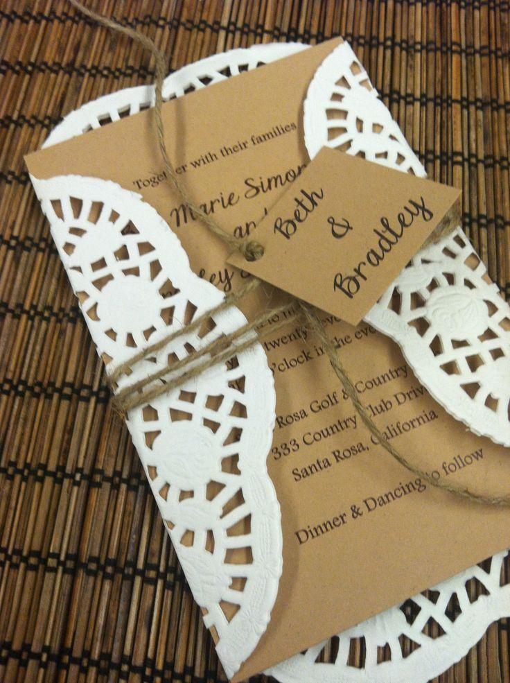Doily Wedding Invitation Suite Design Fee/Deposit (Vintage/Rustic Design). $25.00, via Etsy.   MY BFF is getting HITCHED!   Pinterest   Invitation suite, Weddi…