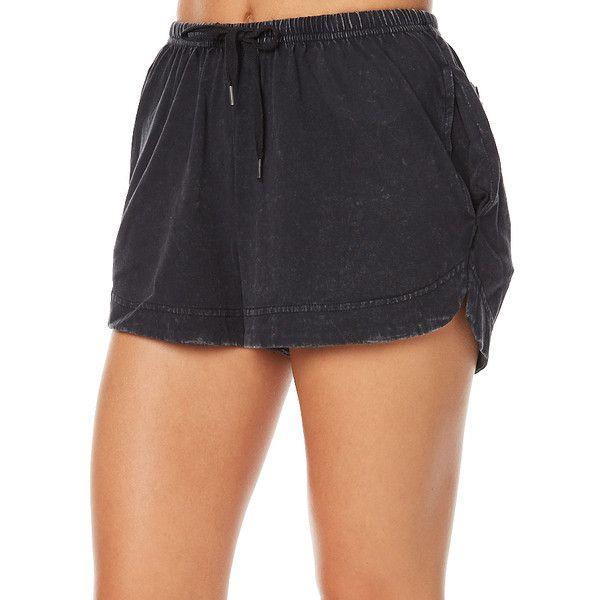 Silent Theory Basic Instinct Womens Short Black Cotton ($29) ❤ liked on Polyvore featuring shorts, black, jogger shorts, women, stretch waist shorts, short shorts, silent theory and cotton shorts