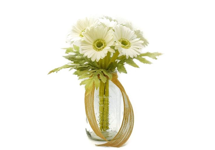 Stemple's White Gerber Daisy Bunch - 7 stems of Real Touch Artificial White Gerber Daisies