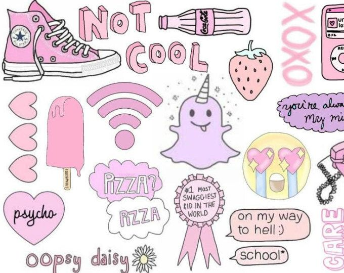 Pink cute tumblr sticker sheet Etsy