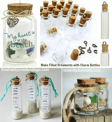 DIY Beach Memory Ornaments with Mini Jar Bottles: http://www.completely-coastal.com/2015/12/beach-memory-ornaments-mini-jars.html