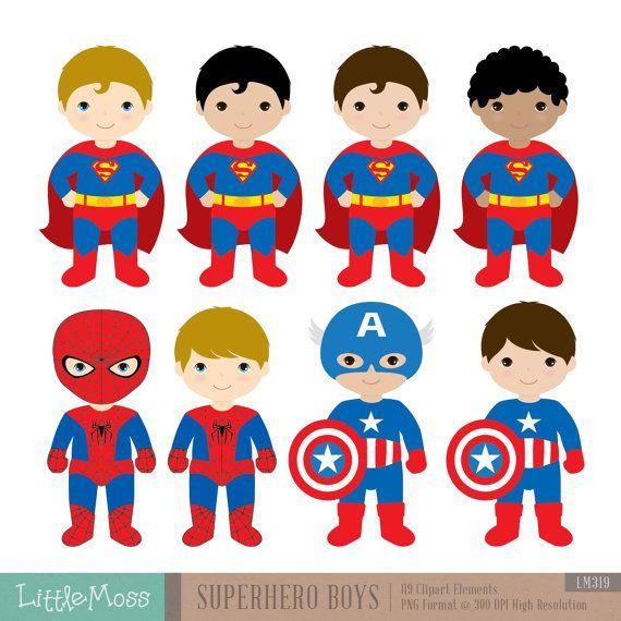 18 Boys Superhero Costumes Clipart Superheroes Clipart