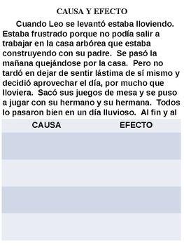 Causa y Efecto - Cause & Effect - Spanish by Kristin DeFrancisco | Teachers Pay Teachers